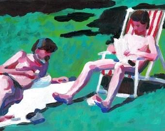 Men resting - original acrylic painting on mdf- men paintings - grass art- wall art- wall decor- home decor
