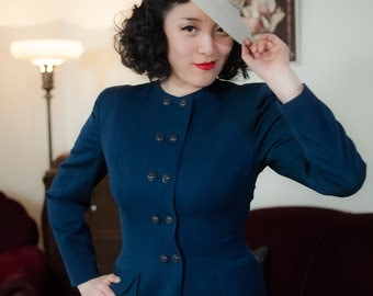 Vintage 1940s Jacket - Double Breasted Navy Blue Gabardine Tailored 40s Blazer with Nipped Waist and Adrian Shoulders