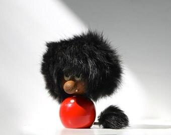 Scandinavian Modern Lion Figurine, Hans Bølling Style, Danish Modern Gnome, Teak Swedish Gonk Troll, Fur Hair