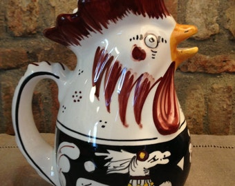VINTAGE Hand painted ITALIAN MAJOLICA Ceramica Senese Rooster Pitcher
