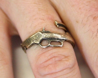 Henry Rifle Ring Solid Bronze Unisex Gun Ring 517