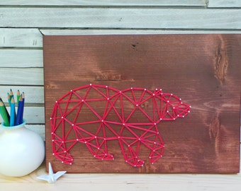 Geometric Bear Design - Modern String Art Tablet
