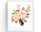 Boho Bouquet No. 3 - A4 Print. Pretty Bohemian Rose Flowers & Feathers in fabulous watercolor style.