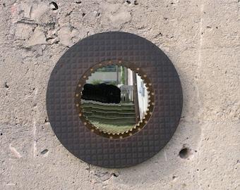 Metal Mirror round wall mirror Industrial Mirror entryway decor husband boyfriend mechanic gift  salvage auto, steampunk mirror clutch plate