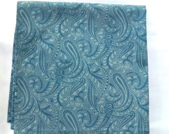 Man's Accessory, Pocket Square, Denim Blue and Teal, Paisley Cotton Fabric, New Handmade Handkerchief, Ready To Ship