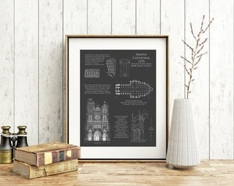 Amiens Cathedral blueprint art print, architectural blueprint, cathedral plan, french cathedral plan, art historical art, architect gift