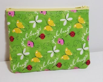 thick Quilted Zipper pouch, girl bugs print, cosmetic pouch, travel pouch, phone