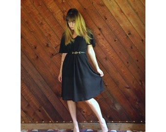 Black Midi Dress with Flutter Sleeves - Vtg 90s - LARGE