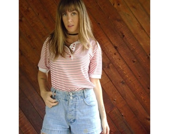 Red Striped Pique Polo Shirt - Vintage 80s - S
