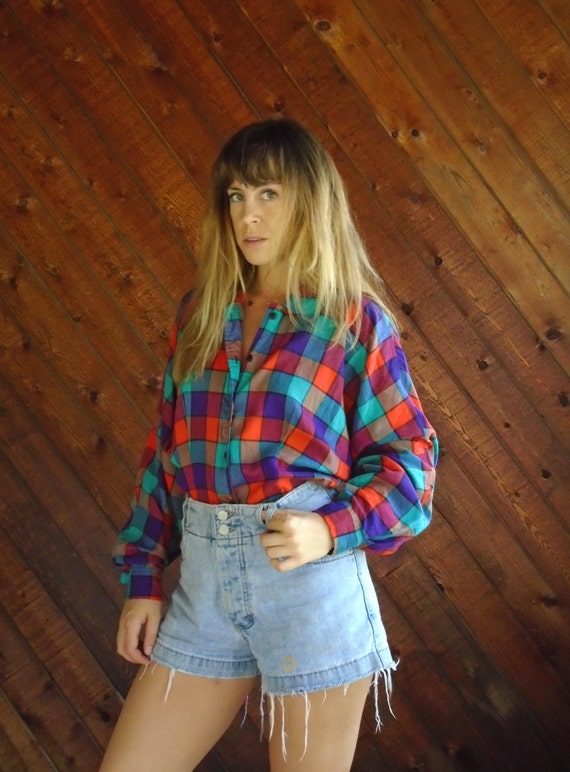 Workshop Plaid Vintage 80s LS Batwing Sleeve Tapered Waist Button Down Shirt S M