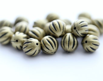 Antique Bronze Acrylic Beads Fluted Round 10mm (20)