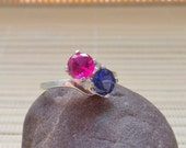 Blue Sapphire Pink Sapphire Ring Sterling Silver Double Round September Birthstone Made To Order