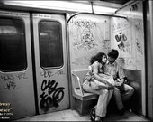 New York, SUBWAY EMBRACE, Clyde Keller Photo, Fine Art Print, Black and White, Signed, vintage 1976 image, Etsy FP, Treasury