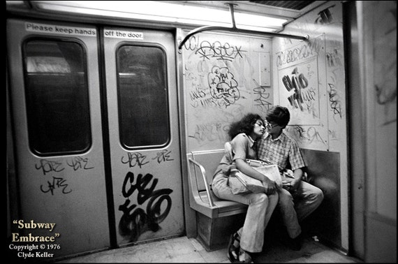 New York, SUBWAY EMBRACE, Clyde Keller Photo, Fine Art Print, Black and White, Signed, vintage 1976 image, Etsy FP, Treasury