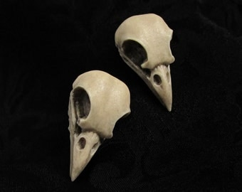 Nevermore Stud Earrings - Raven Skull Earrings, Bird Skull Earrings, Gothic Jewelry, Post Earrings, Macabre Jewelry, Bone Jewelry, Halloween
