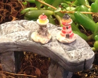 Lighthouse Miniature My Most tiny Itty Bitty set of 2  Ceramic mini  for  Terrariums or miniature gardens or clay houses