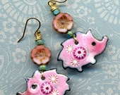 Enamel Flowers and Hedgehog  Earrings, Pink and Blue Earrings, 18 K Gold Filled Earrings, Gold Heggy Earrings,  hedgehog Earrings