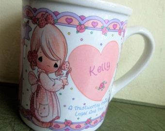 Vintage Mug, Precious Moments Mug, Kelly Mug, Ceramic Cup, Coffee Cup, Cute Kawaii, Personal Name Mug, Enesco Mug,