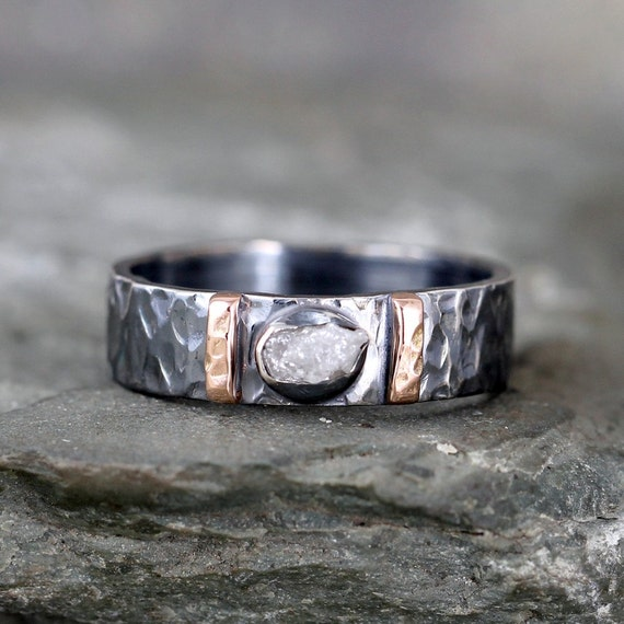 Men S Raw Diamond Ring Black Sterling Silver 14k Rose