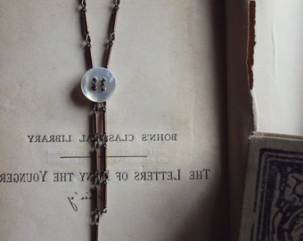 Full Moon. Rustic Boho Chic Vintage Mother of Pearl Shell Button and Brass Layering Necklace.
