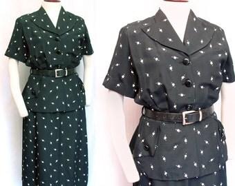 1940s Vintage Black & White Print Faille 2 Piece Dress SZ L