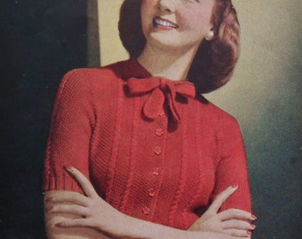 Vogue's 26th Knitting Book - Vintage 1940s Knitting and Crochet Patterns Women's Sweaters Cardigans Jumpers Suits - 40s original patterns UK