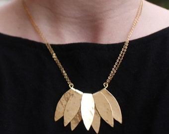Lotus Necklace, Brass, Statement