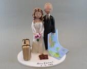 Bride & Groom Custom Handmade Travel Theme Wedding Cake Topper - reserved for petranen