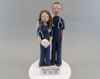 Cake Toppers - Bride & Groom Customized Doctors Wedding Cake Topper