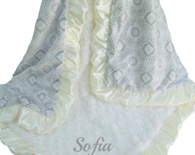 Gray and Charcoal Gray and Cream Printed Minky Blanket with Satin Ruffle, 3 sizesCan Be Personalized