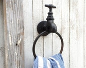 Cast Iron Towel Holder, SALE, * Distressed, Bathroom Fixture, Kitchen, Iron Wall Decor, Country Home Decor, Faucet Decor