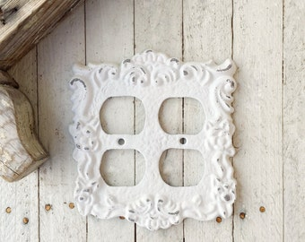 Metal Wall Decor, Double Light Socket Cover, Ornate Decor, French Decor, Girls Room, Double Electrical Outlet, Cottage Style,STYLE  116