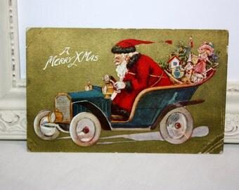 Vintage Christmas Postcard, Vintage Santa Postcard with Santa Claus riding in a car automobile, Santa driving, Gold Foil, 1909