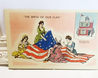 Vintage Betsy Ross Postcard, 4th of July Postcard, Declaration of Independence, Birth of Our Flag, Patriotic Postcard, 1950s
