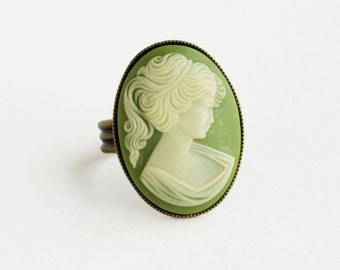 Green Portrait Cameo Ring Large Vintage Victorian Silhouette Cameo Olive Green Brass Adjustable Victorian Jewelry Cameo Jewellery