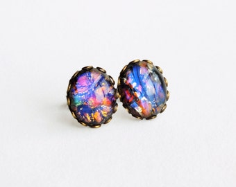 Black Opal Earrings Rainbow Stud Earrings Large Vintage Iridescent Glass Studs Hypoallergenic Rainbow Opal Post Earrings