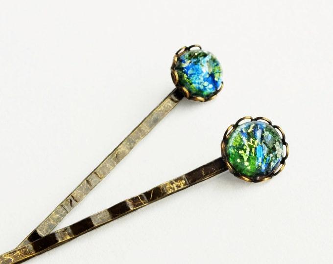 Green Opal Hair Pins Vintage Iridescent Glass Bobby Pins Emerald Green Crystal Hairpins Fire Opal