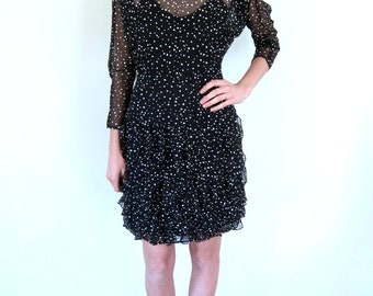 Gorgeous Black & White Polka Dot 80's Dress