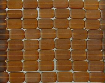 15x10mm Matte Transparent Dark Topaz Czech Glass Rectangle Beads - Qty 20 (BS421)