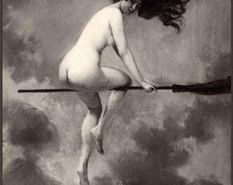 Witch on Broom Flying - Albert Joseph Penot - Giclee Fine Art Print - Wall Art Classic