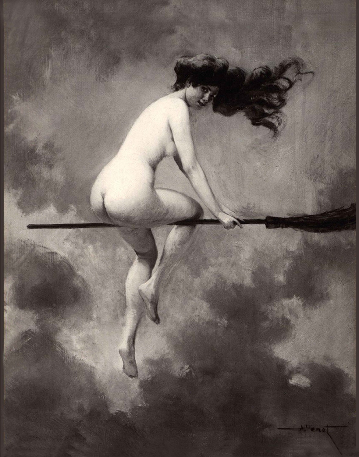 nude witches Witch on Broom Flying - Albert Joseph Penot - Giclee Fine Art Print - Wall  Art