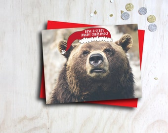 have a beary merry christmas, funny christmas card, santa hat brown bear, funny holiday card red brown white, letterhappy