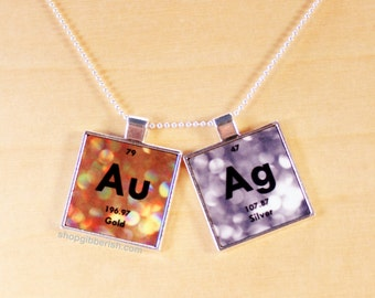 Gold & Silver Necklace - Chemistry Jewelry Periodic Table Science Necklace Gift Idea
