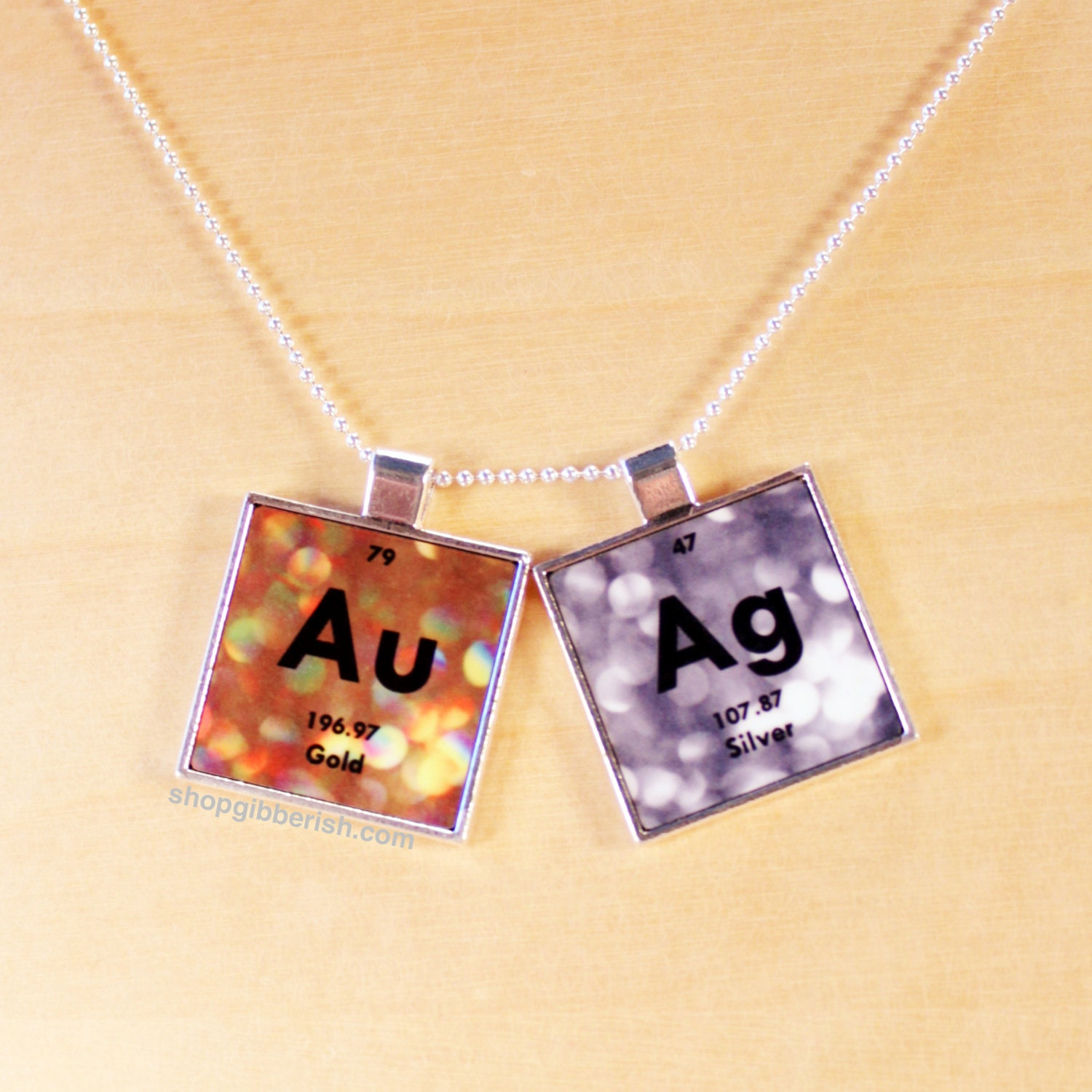 gold silver necklace chemistry jewelry periodic table