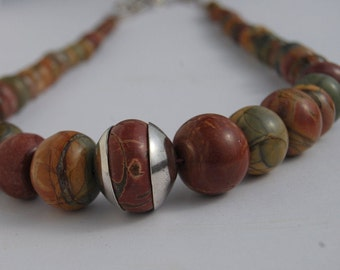 Necklace Earthtones Jasper Graduated necklace Sterling Toggle clasp terracotta earth tone beads