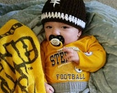 Crochet Baby Football Hat, Newborn Football Hat, Baby Boy Hat, Toddler Hat /LET'S PLAY Some FOOTBALL Baby Hat (Ready to Ship)