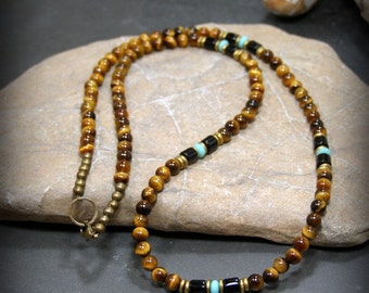 Mens Necklace, Beaded Necklace, Southwest Necklace, Necklace for Men, Men Fashion, Tiger Eye Necklace, Native American, Long Beaded Necklace