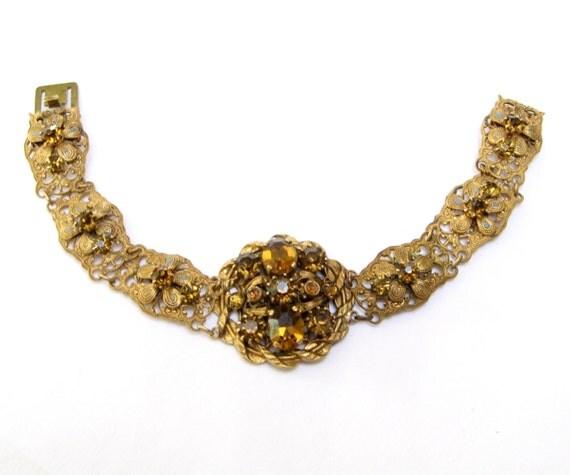 VINTAGE Filigree RHINESTONE Czech BRACELET Glass Signed Czechoslovakia Jeweled Amber Topaz Flower Floral Layered Link Old Jewelry