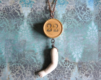 Twenty Two - Vintage Wooden Gaming Number & Antique Porcelain Doll Arm Handmade Copper Chain Necklace - Gift Box