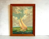 Paint By Number Painting | Sailboat | Ocean Waves | Coast Surf Sea Beach | Nautical